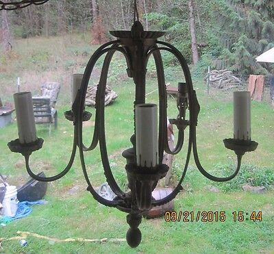 antique hanging candle chandelier fixtures sconces gold chain ceiling metal/iron • CAD $188.45