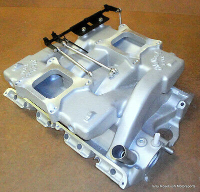 EDELBROCK X-F66 FORD FE 427-428 Cross Ram, Dual 4150 Quad, w/Linkage,