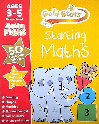 Starting Maths Gold Stars children's book age 3-5 stickers new pre-school
