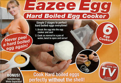 New 6 Eazee Easy Hard Boiled Egg Cooker Free Egg White Separator