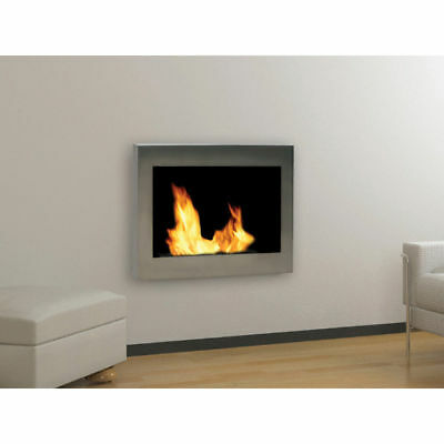 Anywhere Fireplace SoHo Silver Wall Mounted Stainless Steel Bio Fuel Smoke Free
