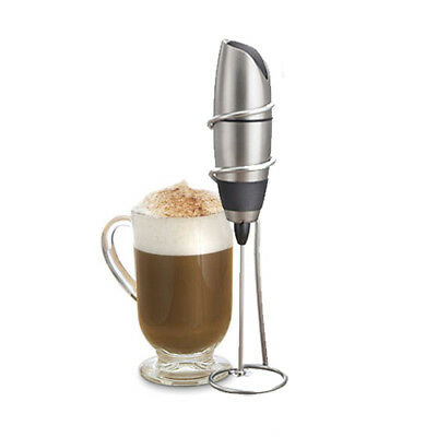 BonJour Battery-Powered Cafe Latte Frother with Stand Chrome Black Coffee Gift