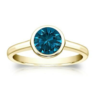 3 Ct Round Cut Blue Solitaire Bezel Engagement Wedding Ring Real 14K Yellow Gold