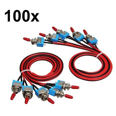 100x SPST Toggle Switch Wires On/Off Metal Mini Small Automotive/Boat/Car/Truck