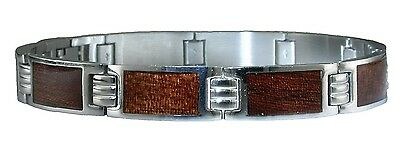 Men's Stainless Steel Link Bracelet with Wood-Accents, 21.6cm. Free Shipping