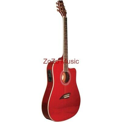 New Kona K2TRD Thin Body Acoustic Electric Guitar, Trans Red + Free Shipping