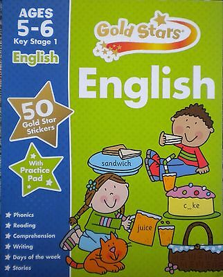 English KS1 Gold Stars children's book new ages 5-6 stickers key stage 1