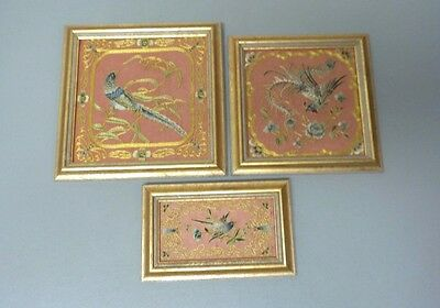 GROUP/3 FRAMED ANTIQUE CHINESE/JAPANESE SILK EMBROIDERY PANELS with BIRDS