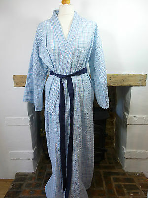 authentic vintage blue check Japanese unlined cotton kimono gown/robe & belt  M