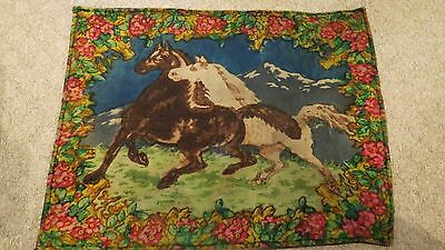 Antique Horse Hair Carriage Buggy Sleigh Throw Blanket with Horse Scene