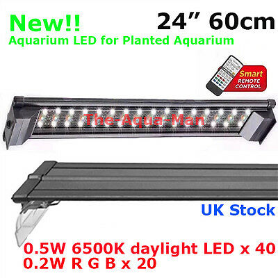 "Aquarium White Daylight Colour + Remote Led Fish Tank Tropical Plant 24"" +60Cm"