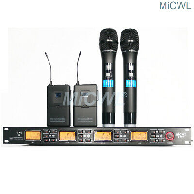 New 4 Channel UHF Wireless Microphone System 2 HandHeld 2 Lavalier Lapel Mic