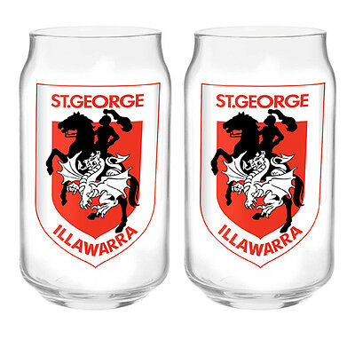 St George Illawarra Dragons NRL 350ml Can Shaped Glasses Set of 2 GIFT PACK