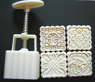 Moon Cake Mooncake Mold Mould Set With 4 Stamps,  75g-83g, square,