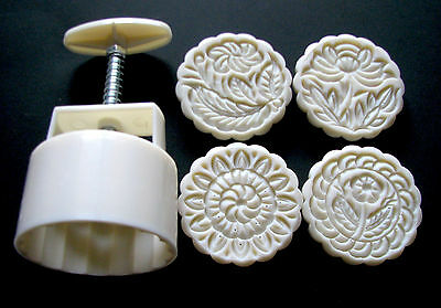 moon cake mooncake mold mould set with 4 stamps , 125g , round