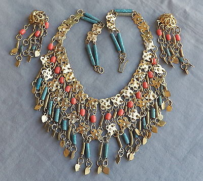 Vintage Deco Egyptian Revival Turquoise Faience  Coral Bead Bib Necklace