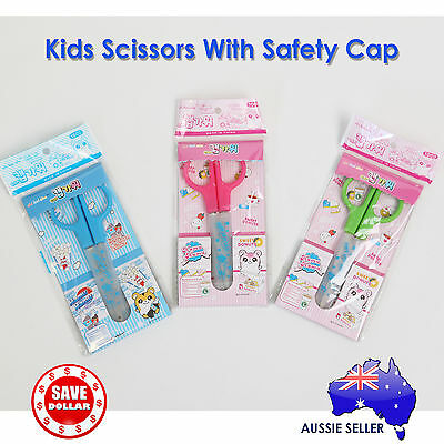 Office Craft Kids Stainless Steel Scissors Safety Cap Student School Stationery