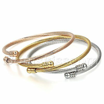 3pcs Women's Stainless Steel Cable Wire Twisted Cuff Bangle Bracelet Adjustable