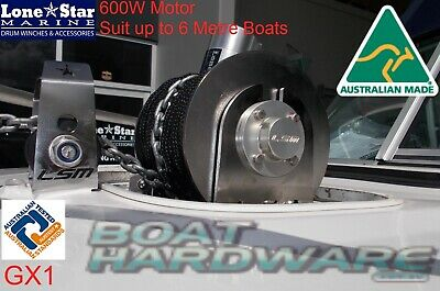 GX1 Lone Star Latest Model 600W Electric 200mm Drum Anchor Winch up to 6mtr Boat