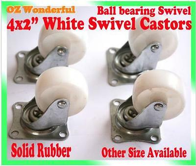 "4 pcs 2"" White Swivel Castor Wheel 50mm Castors New Good Quality"