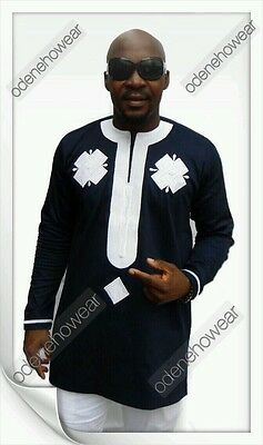 Odeneho Wear Men's Polished Cotton Top/White Embroidery. African Clothing