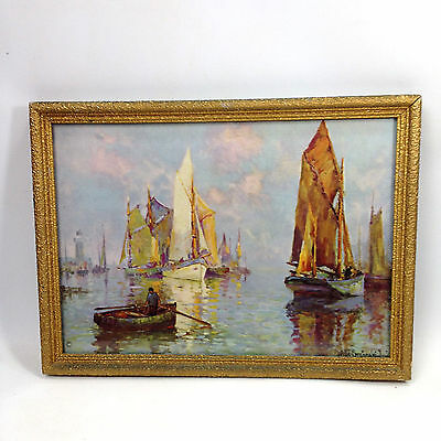 Vintage Antique Framed Print Picture with Glass