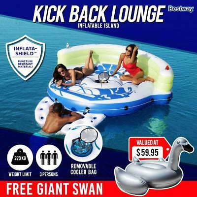 Bestway Inflatable Floating Island Raft Lounger | 3 People Kickback Party Lounge