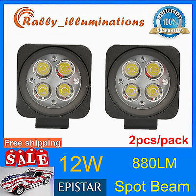 2pcs 12W LED Work Light Spot Lamp Off- Road ATV SUV Car Boat Jeep Driving 12V24V