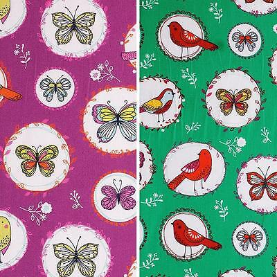 Birdy - 100% cotton, woven fabric, kid's clothing, butterfly, bird, by the metre