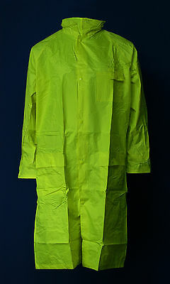 Hi-Vis 3/4 Length Polyester/ Nylon Waterproof Lime Raincoat with Zip out Hood