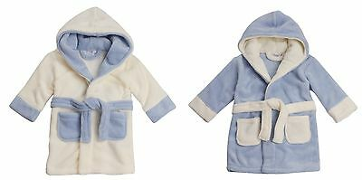 Baby Boys Hooded Fleece Dressing Gown Soft Bath Robe Wrap Towel Toddler Months