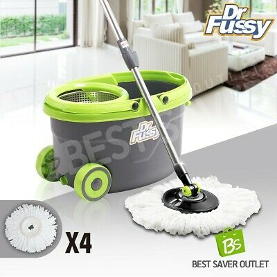 360 Degree Spinning Mop & Stainless Steel Bucket w/ Wheels 4 Free Mop Heads