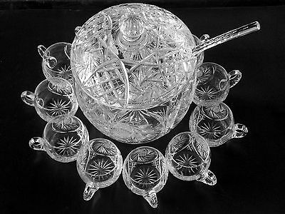 Cut Glass Crystal Covered Punch Bowl ~ Cut Crystal Ladle & 11 Cups   Ring Tone &