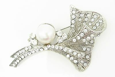 Vintage White Freshwater Pearl Platinum Plated Silver Lily Brooches Corsage Gift