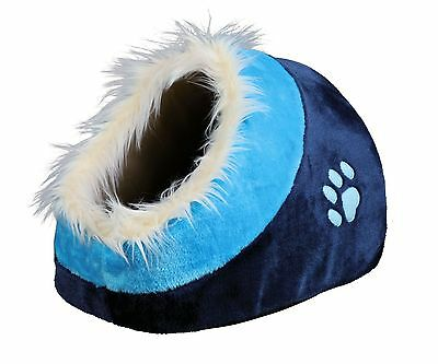Minou Cuddly Cave Cat Kitten Comfy Igloo Bed Blue with Fur Edging