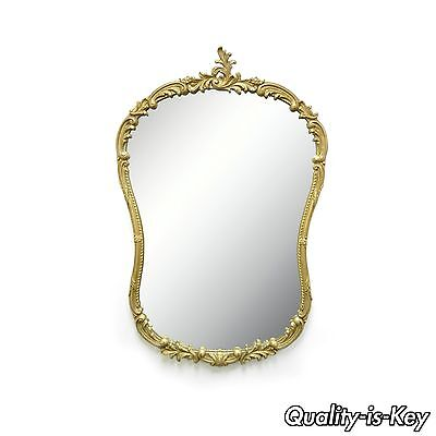 Antique French Rococo Style Gold Gilt Wood & Gesso Bathroom Console Wall Mirror