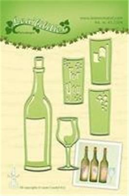 Lea'bilities Die Cut Emboss Craft Stencil Bottle Of Wine Glass 5 Dies 45.2304