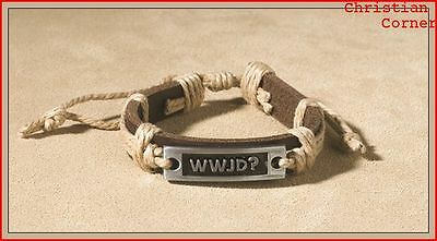 """Brown Leather Band 8 Inch Adjustable Bracelet with Metal """" WWJD """" UNISEX"""