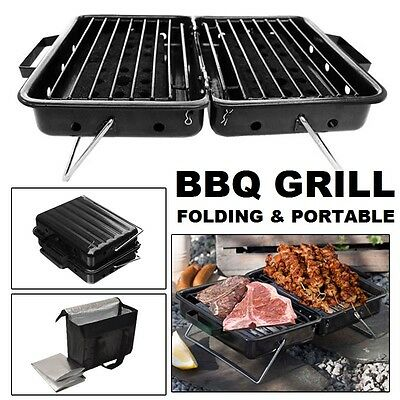 BBQ Grill Reusable Folding Portable Compact Barbecue Backpack Camping Fishing UK