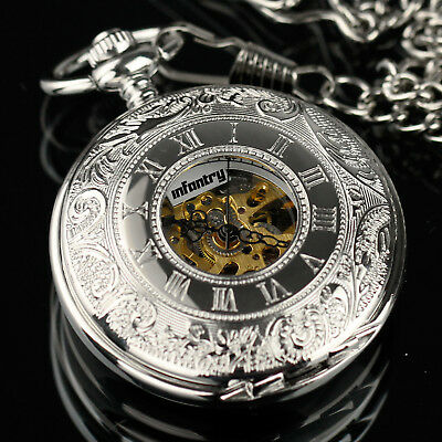 PACIFISTOR Mens Mechanical Pocket Watch Double Hunter Swiss Antique Style Silver