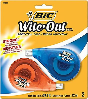 BIC Wite-Out Brand EZ Correct Correction Tape 2 Count NEW Free Shipping