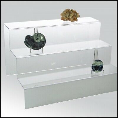 Mineral Display Stands-Clear Acrylic Glass Riser Step Display