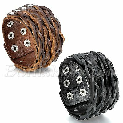 Punk Style Unique Braided Leather Bracelet Buckle Adjustable Men's Bangle Cuff
