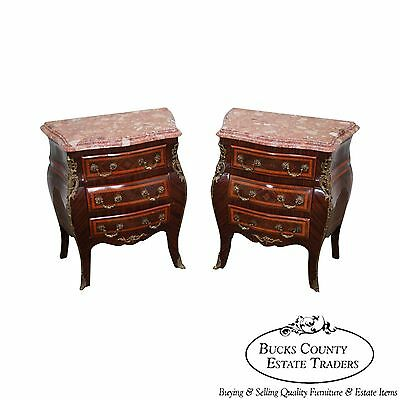 Quality French Louis XV Style Marble Top Bombe Inlaid Chests