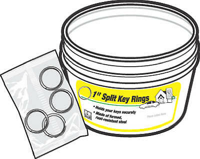 "Hy-Ko Prod KB105-BKT 30PC 4PK 1"" Split Ring"