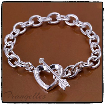 925 Sterling Silver Mini Hearts Bracelet Bangle Gift FREE P&P