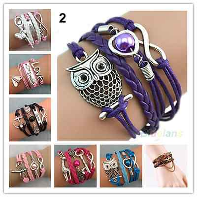 NEW Jewelry Fashion Leather Cute Lnfinity Charm Bracelet Silver Lots Style Pick