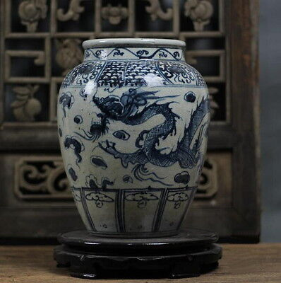 Chinese Yuan blue and white clouds Long Annals paragraph Jar