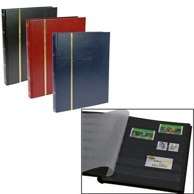 Stamp Albums Stock Books - Navy Blue - 32 Black Pages