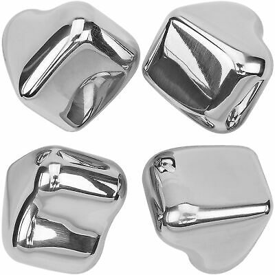 Heart Stainless Steel Chilling Ice Cubes Reusable For Whiskey Wine Beverage 4 pk
